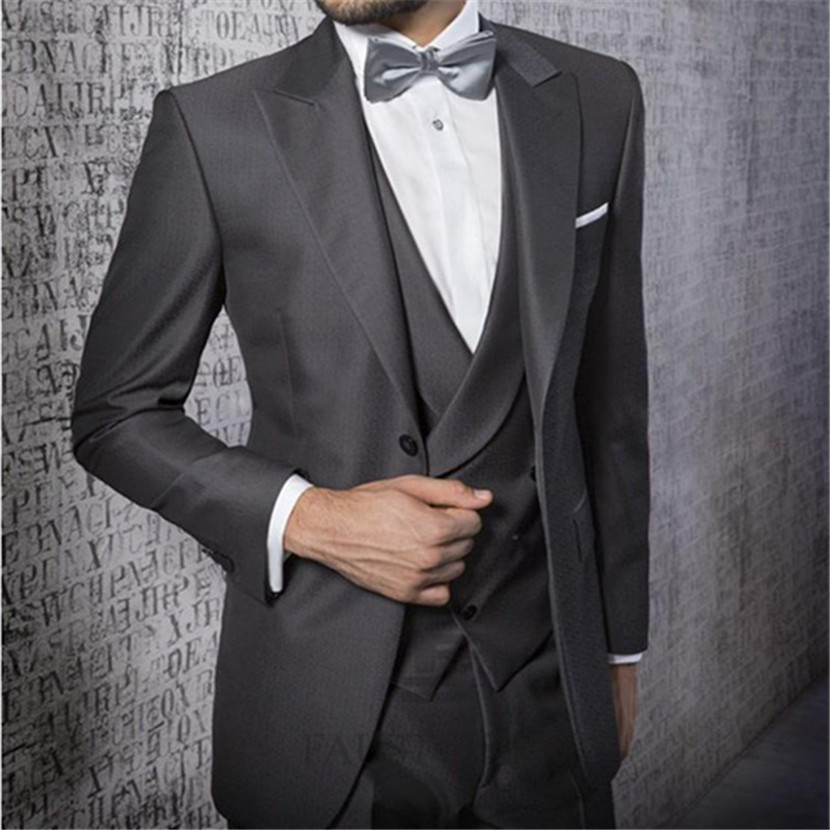 New Style One Button Grey Groom Tuxedos Notch Lapel Best Man Groomsmen Prom Suits Business Prom Suits (Jacket+Pant+Vest+Bow)