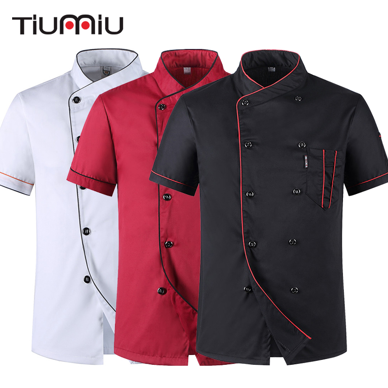 Short Sleeve Restaurant Chef Kitchen Work Uniforms Double Breasted Sushi Bakery Cafe Waiter Catering Food Service Jackets Aprons image