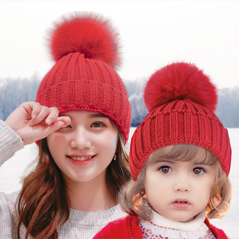 16cm Ball Warm Winter Hat For Women&Kids Beanie Knitted Rabbit Hats Real Fox Fur Pompom Skullies Cap Ski bonnet femme gorros W01 unisex 1d one direction letter hats gorros bonnets winter cap skullies beanie female hihop knitted hat toucas with pompom ball