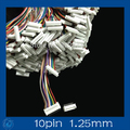 Mini. Micro 1.25 T-1 10-Pin Conector w/. Wire x 10 sets.10pin 1.25mm