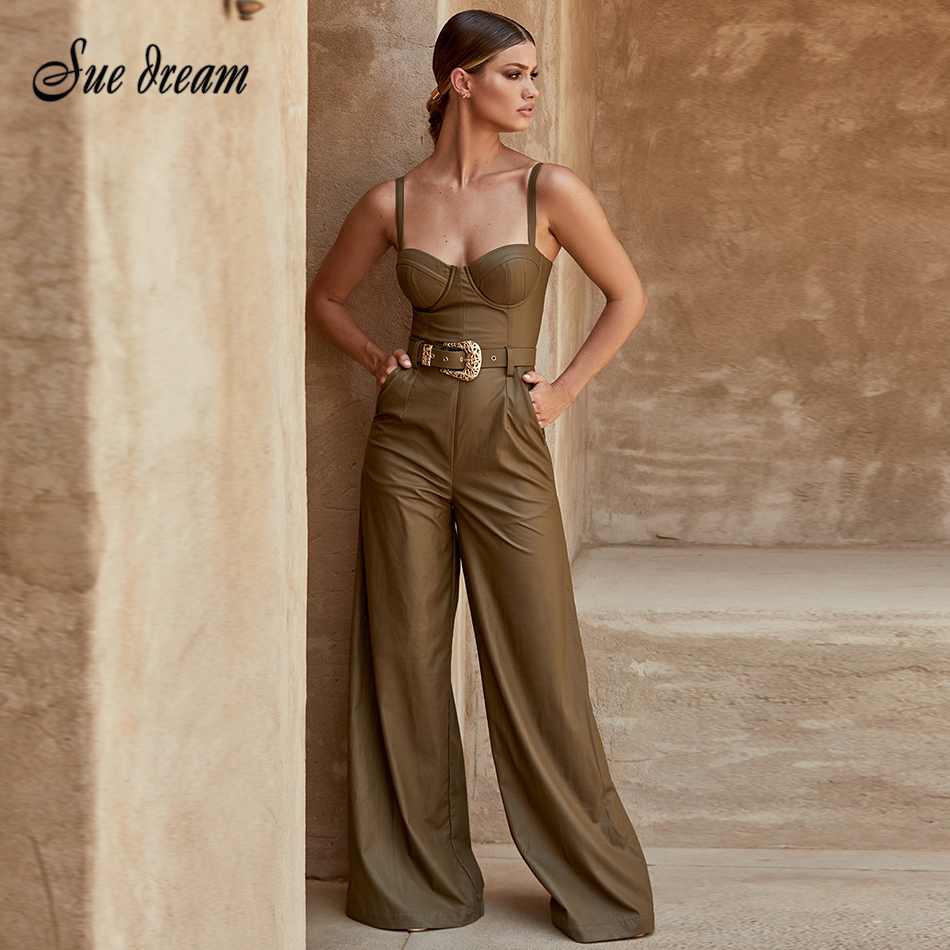 New Celebrity High Quality Non-slip Army Green Leather Loose Jumpsuit 2019 New Belt Decoration Sexy Fashion Party Jumpsuit