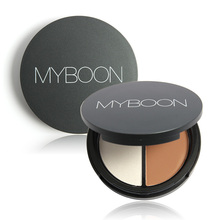 2 Color Contour Bronze and Highlighter Shading Highlight Shadow Concealer Bronzer Palette Pressed Powder