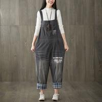 plus size denim jeans panty women spring summer style autumn Retro overalls thin straps jumpsuits denim pants female