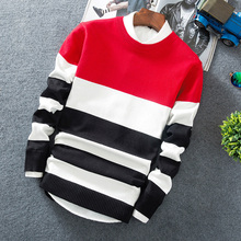 Men's 2019 Autumn dress new Korean trend striped round neck pullover sweater Male student Loose edition casual Sweater