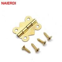 10pcs NAIERDI 20mm X17mm Bronze Gold Silver Mini Butterfly Door Hinges Cabinet Drawer Jewellery Box Hinge