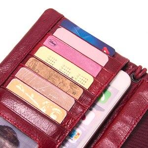 Image 5 - İletişim yeni 2020 hakiki deri kadın cüzdan uzun tasarım debriyaj dana cüzdan yüksek kalite moda kadın çanta telefonu çanta