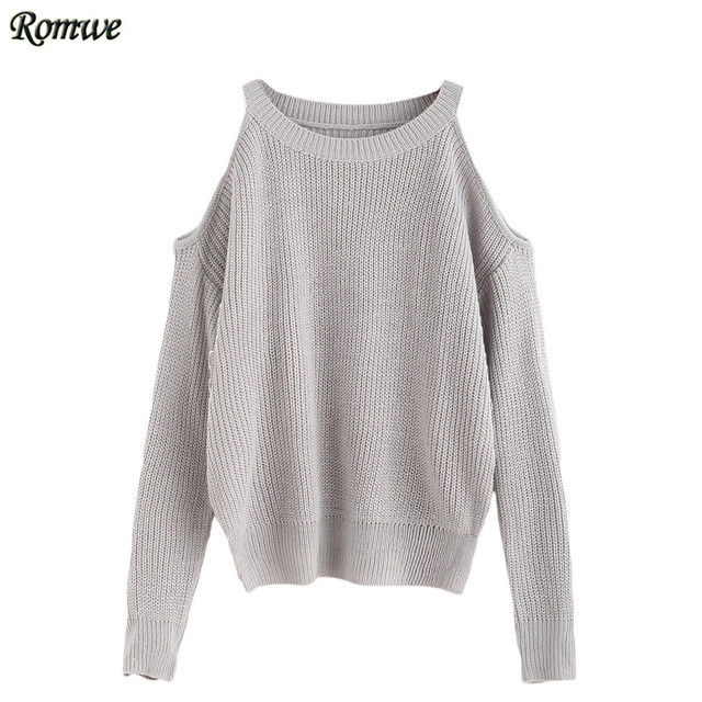 ROMWE Ladies Plain Grey Open Shoulder Knit Sweater Women Autumn Long Sleeve Sexy Sweater Casual Loose Pullovers