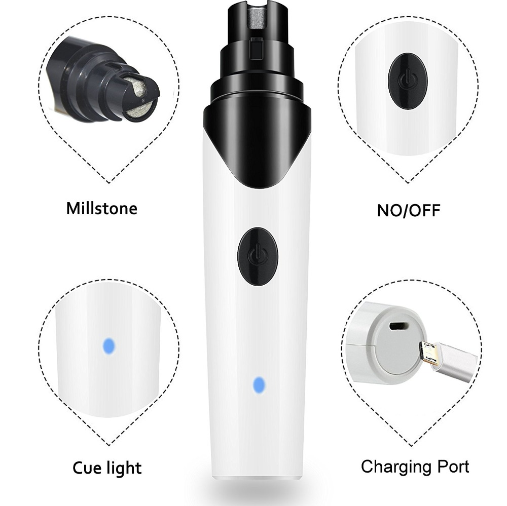 Rechargeable Dog Nail Grinders Usb Charging Pet Nail Clippers Quiet Electric Dog Cat Paws Nail Grooming Trimmer Tools