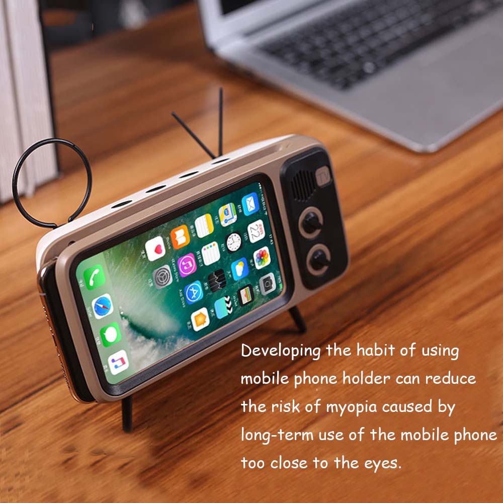Bluetooth-Speaker Phone-Holder Retro Audio Stereo-Sound-Box Portable Wireless with Mic-Support