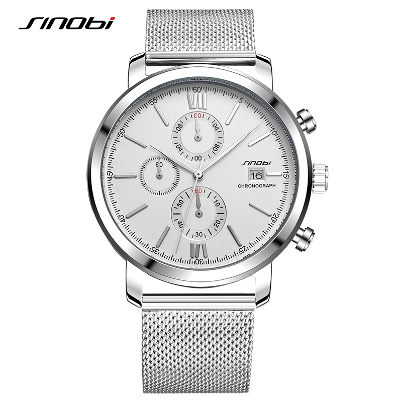 SINOBI Stopwatch Men's Watch Stainless Steel Smart Watch Men