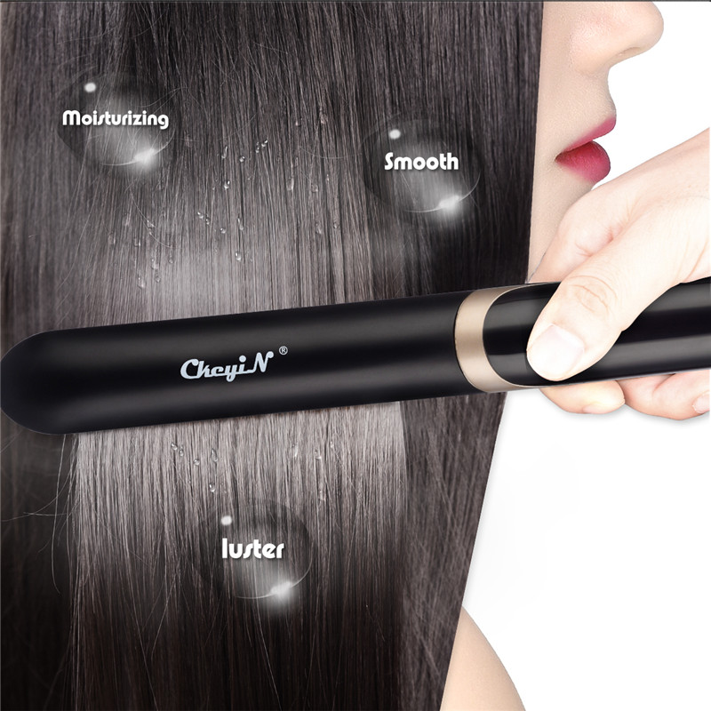 Heating Flat Iron Hair Straightener 2 In 1 Curler Professional Temperature Adjustment Curling Straightening With LED Digital 40