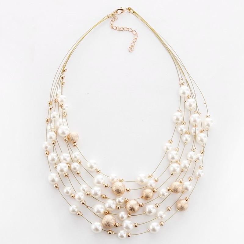 Femme fashion Imitation Pearl Pullover Long Chaîne Collier Pendentif Bijoux LD