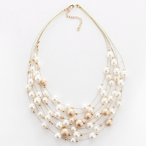 KMVEXO 2020 New Fashion Jewelry Gold Color Multi Layer Chains Imitation Pearl Necklaces For Women Party Wedding Bride Necklace