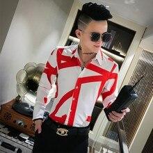 Top Qualität Einfache Männer Shirts Marke Slim Fit Druck Hemd Männer Langarm Nacht Club Party Smoking Hemd Alle Spiel bluse Homme
