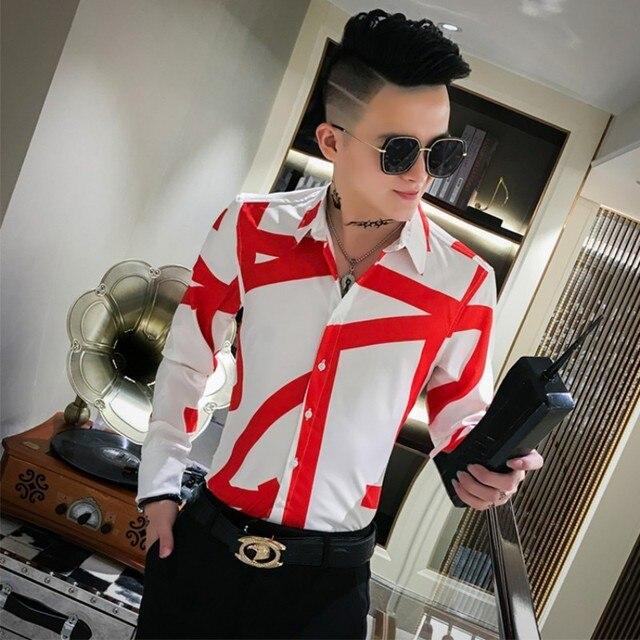 Top Quality Simple Men Shirts Brand Slim Fit Printing Shirt Men Long Sleeve Night Club Party Tuxedo Shirt All Match Blouse Homme