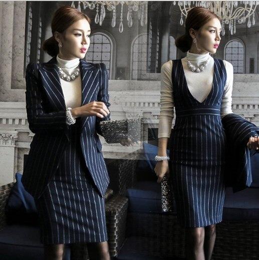 Rayé Travail Bleu 2 Pièces 2019 Dames Vêtements Blanc Bleu Élégant D'affaires À Office Convient Robe Femelle Deux Lady Costumes Ensembles blanc De EEfqZBPR