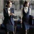 Primavera Outono Vestido Azul Listrado Branco Ternos de 2 Peças Mulheres Conjunto Terno Formal Com Vestido de Blazer Casaco Terno de Negócio do Sexo Feminino vestidos