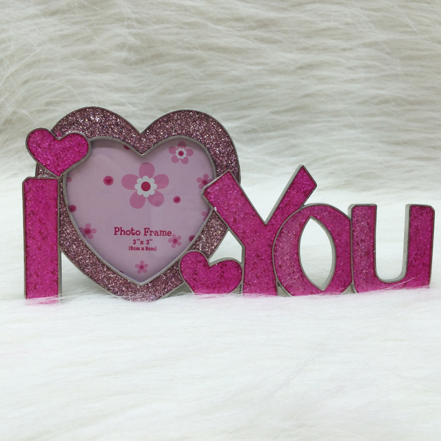 Matt Silver I Love You With Glitter Modern Alloy Photo Frames For