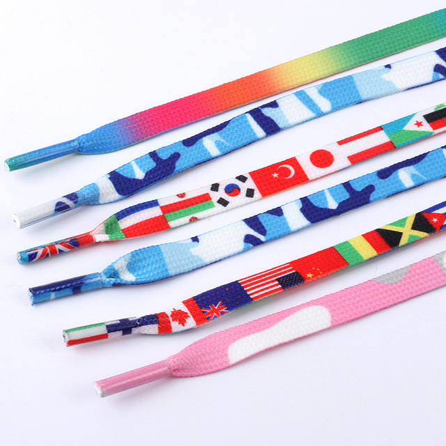 Fashion Shoelace Only National flag Rainbow color Sneakers Sports Shoe laces
