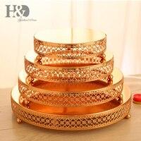 H & D набор 4 золотая металлическая, для подставки для пирожных торт тарелка десерт лоток для свадьбы День рождения украшения, башня из кексов