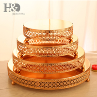 H&D Elegant Gold Cake Stand Floral Pattern 4 Tier Dessert Stand Wedding Party Decor Cupcake Tower Display Cake Accessory Tools