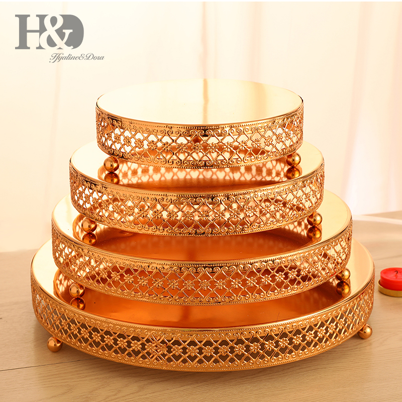 H&D Set 4 Gold Metal Cake Stand - Cake Plate - Dessert Tray For Wedding Birthday Party Decoration,Cupcake Tower Display