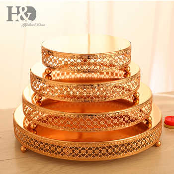 H&D Set 4 Gold Metal Cake Stand - Cake Plate - Dessert Tray for Wedding Birthday Party Decoration,Cupcake Tower Display - DISCOUNT ITEM  15% OFF All Category