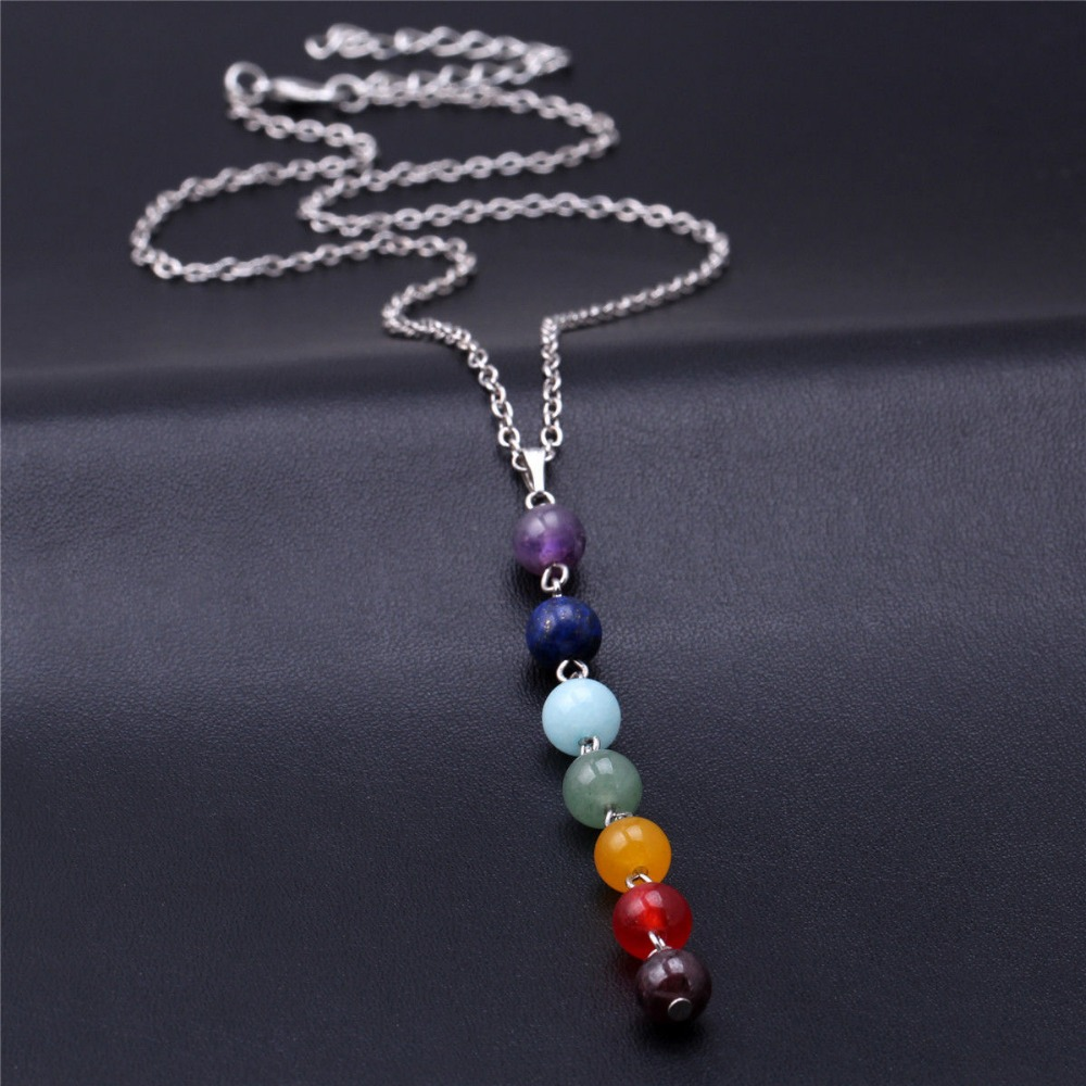 High Quality Natural Stone Chakra Bead Necklace Energy Healing Point 7 Chakra Charm Pendant Necklace