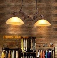 Винтаж Ретро Лофт промышленного ветер Смола рога оленя железной цепи подвеска свет с Стекло тени для бар ресторан кафе