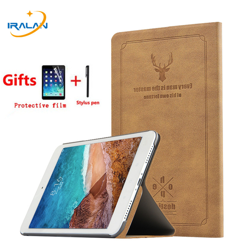 2018 new Leather Retro Deer pattern Back Cover for Xiaomi MiPad 4 Plus Mi Pad 4 plus 10.1 Tablet Smart Protective Case+Film+Pen euro currency pattern protective back case for iphone 4 4s white golden