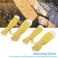 Не упустите рекомендованные перчатки пчеловода белая овчина толстые холщовые перчатки с рукавами 2 пары пчеловодства поставки