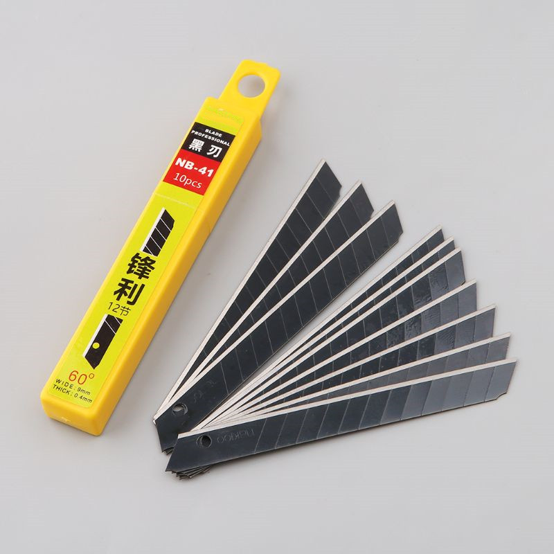 10pcs 30 degree Snap Off Replacement Razor Blades 9mm Shaving Blade Utility Knife Tools Carbon Steel NB-39/NB-41/NB-50 2