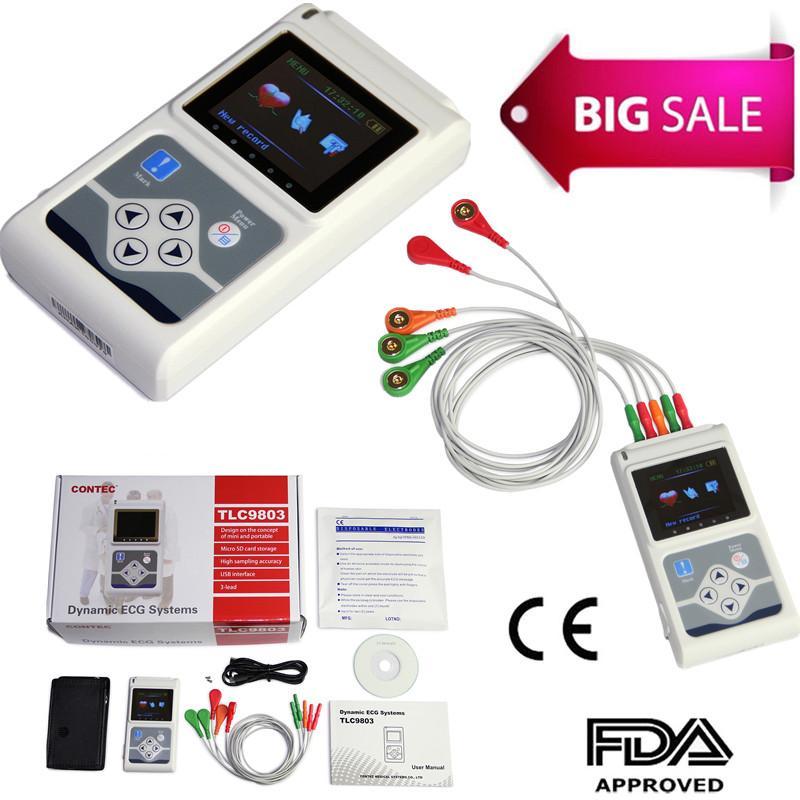 CE approuvé TLC9803 portable 3 canaux ECG/EKG Holter enregistreur système de surveillance logiciel