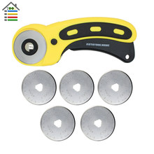 45mm Rotary Cutter With More 5pcs Blades For OLFA Fabric Paper Vinyl Circular Cutting Tools Patchwork Leather Craft(China)