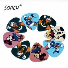 SOACH 10PCS 0.71mm high quality guitar picks two side pick Mickey Mouse And Donacdduck picks earrings DIY Mix picks guitar