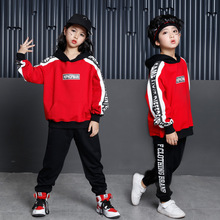 Children Hip Hop Set for Kids Girls Hooded Red Sweatshirts and Black Pants for Big Boys Two Piece Suit Autumn Winter Clothes Set