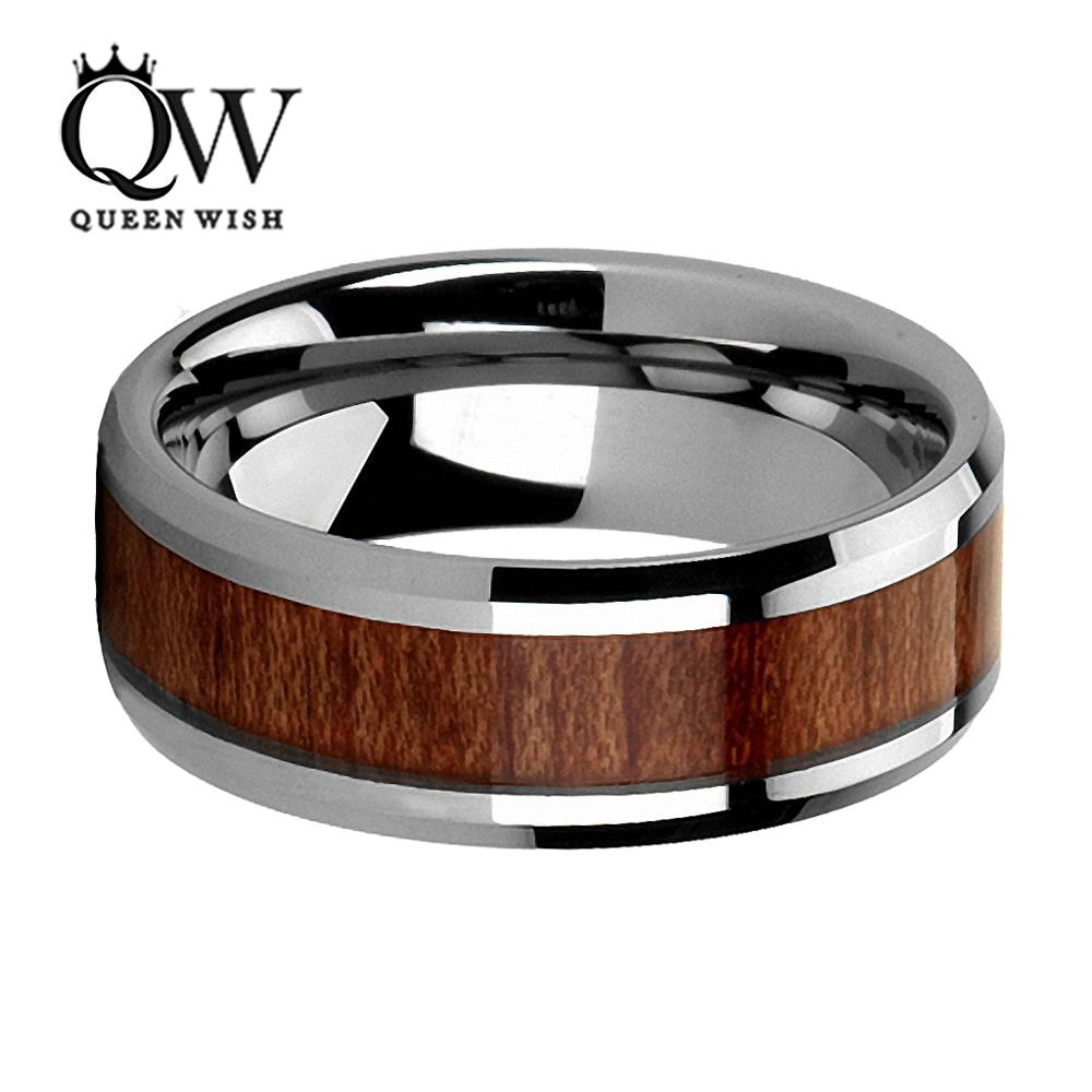 koa wedding bands QUEENWISH 8mm Wood Inlay Mens Tungsten Ring Comfort Fit Engagement Wedding Band