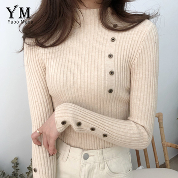 YuooMuoo Turtleneck Autumn Winter Women Sweater Button Design Long Sleeve Pullover Jumper Women Sweater Knitted Top Pull Femme