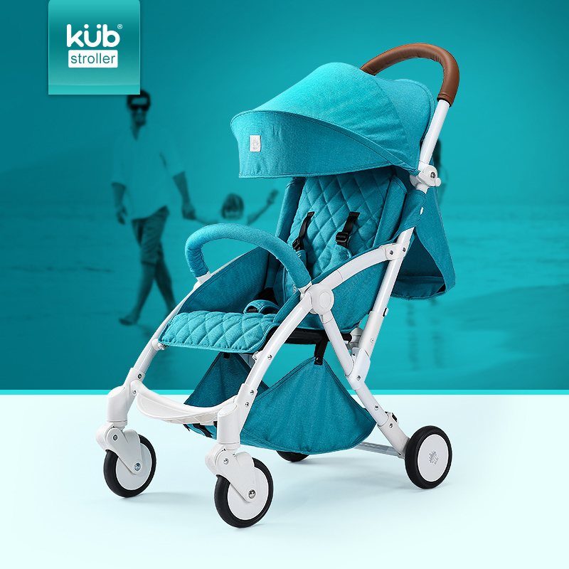 Super light travel baby stroller folding four-wheel bb car six colors leather handle 3 positions 175 degree sleep