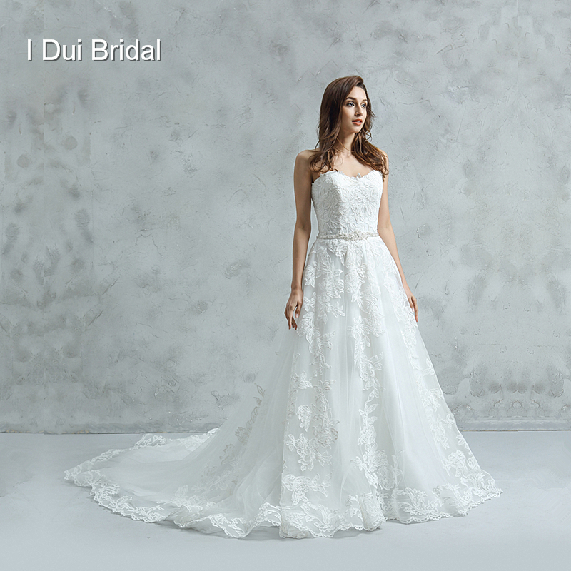 Strapless A line Lace Wedding Dress with Beaded Belt High Quality Bridal Gown