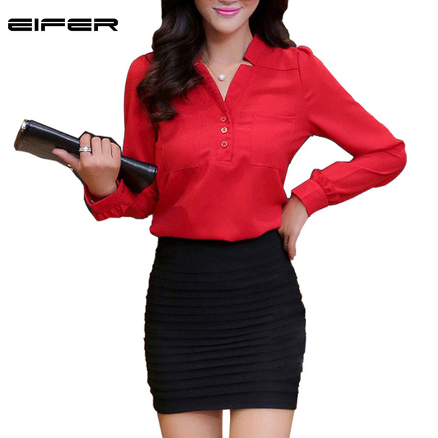 Women Chiffon Blouse blusa feminina Red Blue White Color Long Sleeve Women Shirt  V-neck Spring Shirts