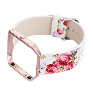 Image 2 - DAHASE Floral Leather Watchband 23mm Flower Strap Replacement Watch Strap For Fitbit Blaze Band w Colorful Metal Frame