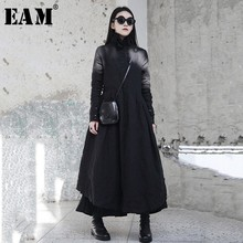 [EAM] 2019 New Spring Winter Ruffled Collar Long Sleeve Black Irregular Big Hem Fold Loose Long Dress Women Fashion Tide JI098