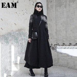 Image 1 - [EAM] 2020 nouveau printemps hiver col à volants à manches longues noir irrégulière grand ourlet pli ample longue robe femmes mode marée JI098