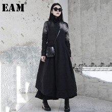Женское асимметричное платье [EAM], черное Свободное длинное платье с воротником с оборками и длинным рукавом JI098, новинка сезона весна Зима 2020