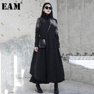 Image 1 - [Eam] 2020春の新作冬フリル襟長袖黒不規則なビッグ裾フォールロングドレス女性ファッション潮JI098