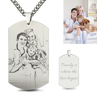 Sweey Dropshipping Engravable Necklace Jewelry Titanium Steel Engraved Family Photo Necklace for Fathers Personalized Necklace