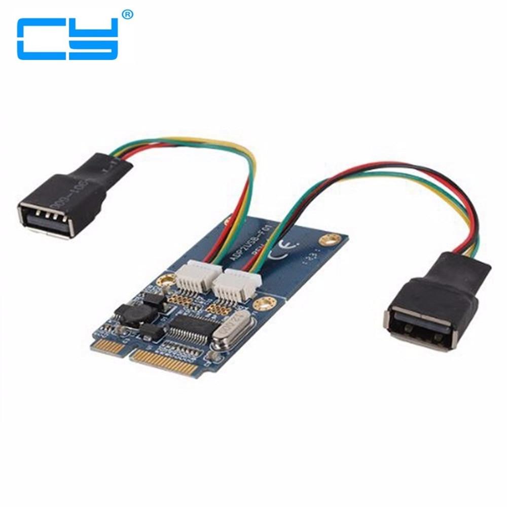 Dual USB 2.0 USB2.0 Female to Mini pcie pci-express PCI-E pci Express Adapter card For USB Flash Disk & Wifi Wireless Card