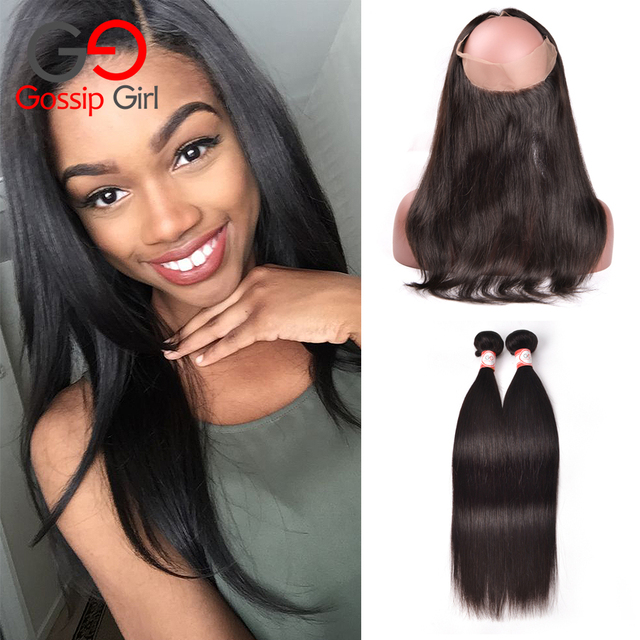 Top Pre Plucked 360 Frontal With Bundles Brazilian Straight Hair With Closure 360 Lace Frontal Brazilian Virgin Hair Straight