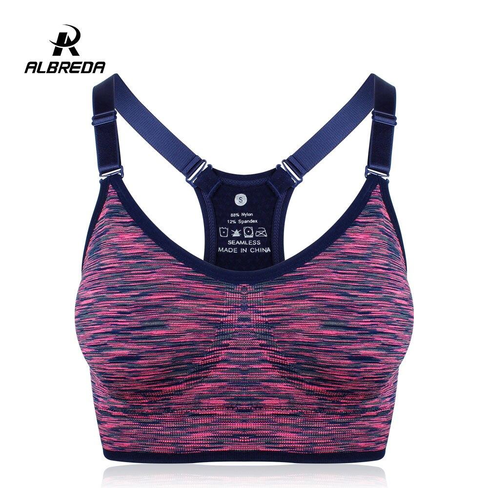 ALBREDA Femmes Yoga soutien-gorge Soutien-Gorge de Sport Running Fitness Gym bras femme Bretelles Rembourré Crop Top Sous-Vêtements de Sport Segment teinture Gilet